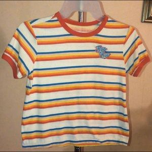 Tops - Retro inspired striped shirt w embroidered patch